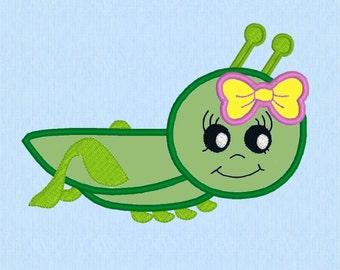 Grasshopper Girl applique machine embroidery design file