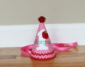 Girl First Birthday Hat - Apple theme in pink and red gingham - Free personalization