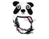PANDA Hat Baby Girls or Boys Crochet Black n white BEAR Unisex Beanie Knit Winter Beanie Ear Flaps Beenie / Unisex Premium Animal Hat