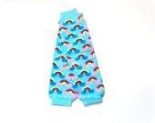 Warm Turquoise Bright Blue RAINBOW no Ruffle Legwarmers. Baby Leg Warmers.Girls Footless Knit Socks Leggings Dance Cheer Soccer Dress UP