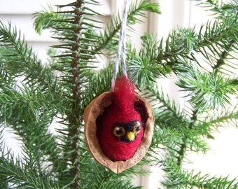 Needle Felted Bird in Walnut Heirloom Ornament-Cardinal