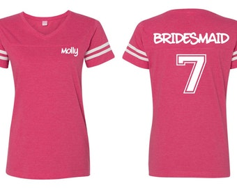 Personalized football shirts Bachelorette shirts Wedding  Bridal party sirts  Bride Bridesmaid Maid of Honor Flower Girl