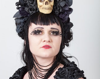 Skull, Roses, Orchids & Beads Headdress