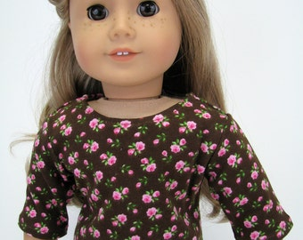 "18 Inch Doll Clothes - American Made Doll Clothes - 18 Inch Doll Top - Brown Pink Flower Top - 18"" Doll Clothes - AG Doll Top"