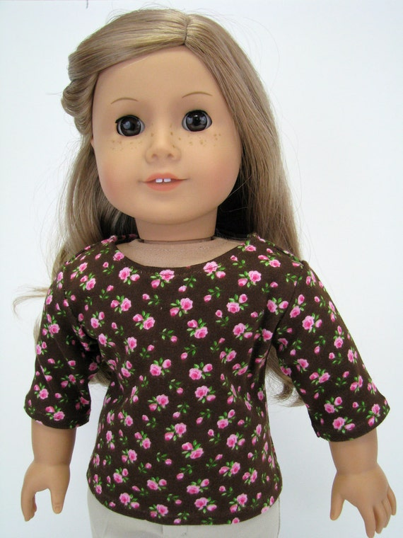 """18 Inch Doll Clothes - American Made Doll Clothes - 18 Inch Doll Top - Brown Pink Flower Top - 18"""" Doll Clothes - AG Doll Top"""