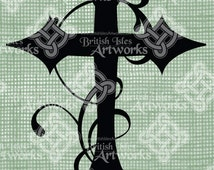 Digital Download Flourish Cross with Gothic design, digi stamp, digital stamp, Digital Transfer with ornate design, Antique Illustration