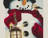Snowman With Lantern and Birds Watercolor Print/Wall Art/Easel Art/Giclee Art Print