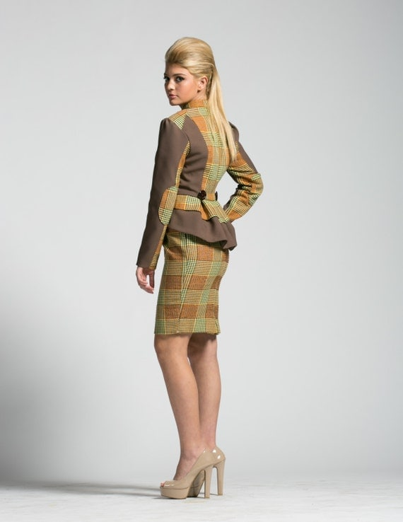 SALE Vivienne Westwood Style Jacket and Skirt Set, Fox print lined Jacket and matching beaded pencil skirt