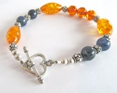 Sterling Silver Bracelet with Dumorterite and Amber Beads / Heart Bracelet / Stone Jewelry / Colorful Amber Bracelet / Gift Bracelet- 211032
