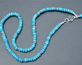 Genuine Blue Turquoise Sterling Silver Necklace - Faceted Deep Aqua Turquoise Necklace -  111018