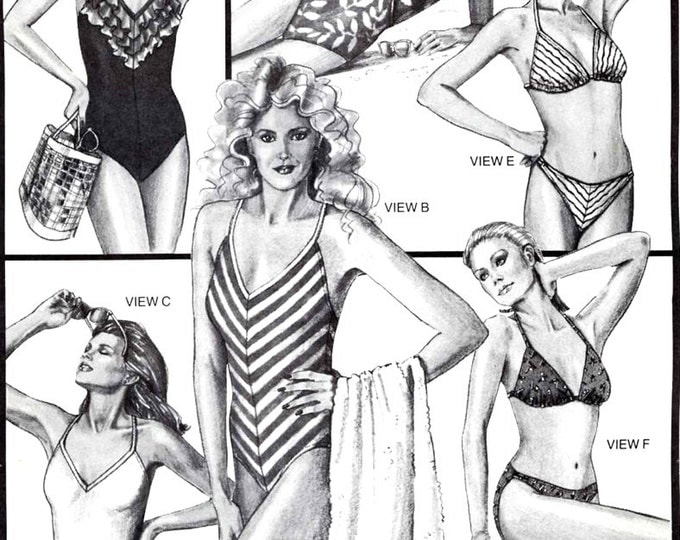 V Neck Maillot Womens one piece Swimsuit 80s bikini bathing suit Vintage sewing pattern Stretch and Sew 1374 Uncut Multi size