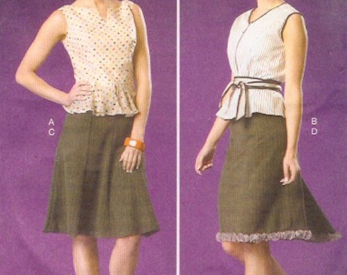 Womens skirt top belt Casual chic Sewing pattern Designer Jai McCalls 7017 Uncut Size 6 to 14