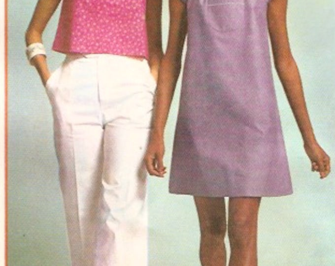 Vintage mini dress and top boho retro 70s vintage sewing pattern Simplicity 6830 Bust 34 UNCUT
