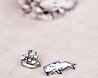 Holiday Gift - White Whale and Tall Ship - Nautical Enamel Post Earrings
