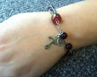Deep Garnet Red Rosary Bracelet Single Decade Catholic Chaplet with Crucifix and Holy Medal