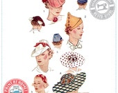 E-Pattern- Sporty Toppers- 1930s Hats- Wearing History PDF Sewing Pattern
