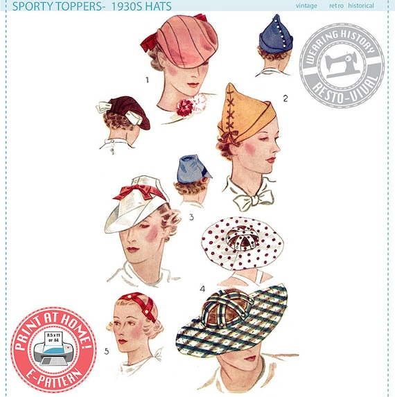 1930s Dresses, Clothing & Patterns Links 1930s Hats- Wearing History PDF Sewing Pattern $12.00 AT vintagedancer.com