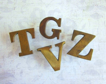 Four Vintage Brass Letters - G, V, T, and Z