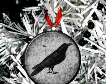 Black & White Damask Crow Raven Black Bird  Christmas Tree Ornament