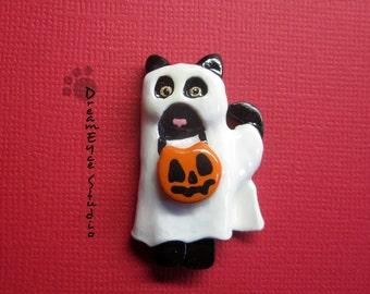 Black Cat Ghost Halloween Trick or Treat Pendant Artist Hand-Made OOAK Kitty Art Jewelry Necklace K5