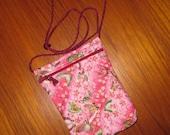 Passport Travel Pouch Quilted Japanese Asian Fabric Butterflies Design Pink