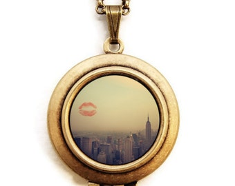 I Love New York - The Big Apple City Scape Skyline -  Wearable Art Locket Necklace