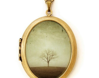 RESERVED for John- Photo Locket - The Round Earth - Solitary Tree Nature Photo Locket Necklace