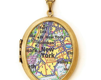 New York City Map - Photo Locket - NYC Photo Locket Necklace