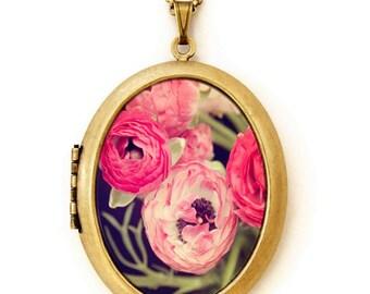 Flower Locket - A Wild Bunch - Pretty Feminine Ranunculus Flower Photo Locket Necklace