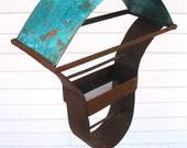 Birdfeeder Sculptural Steel & Copper Bird Feeder Freestanding unique modern bird feeder