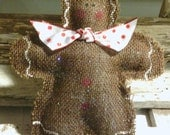 Gingerbread Man Burlap Christmas Tree Glittered Ornament Red & White Polka Dot Bow
