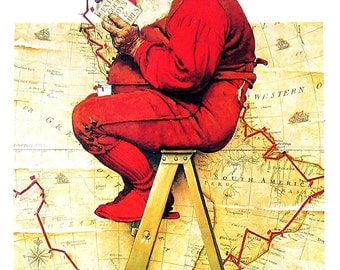 Santa, The Decorator - Large Norman Rockwell Print - 1979 Vintage Book Page - Saturday Evening Post Cover - 14 x 12