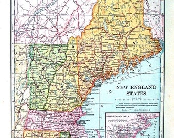 Map of new england Etsy
