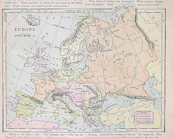 1895 Antique Map - Map of Europe - Vintage Book Page - 12 x 10