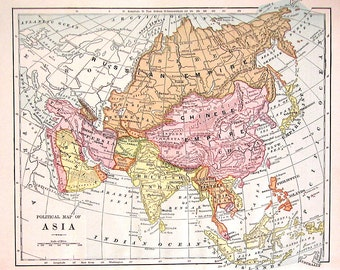 Political Map of Asia - 1889 Antique Map - Colored Map - Geographical Map - 12 x 9