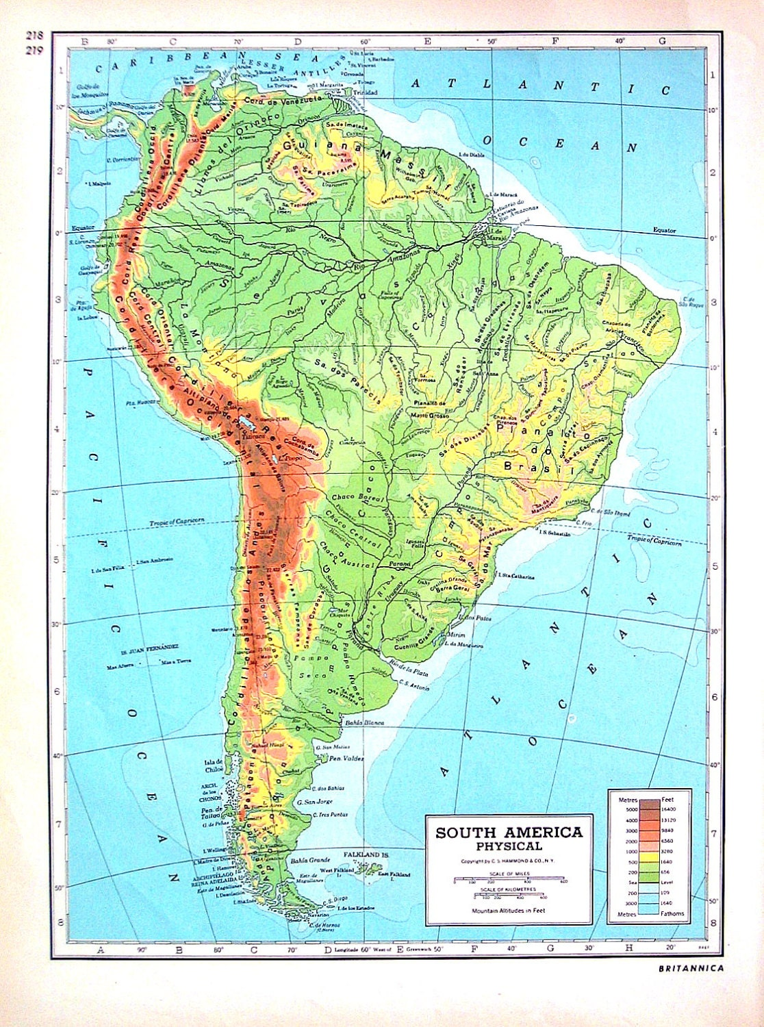 Australia South America Physical Map 1947 Large 2 Sided