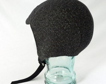 Charcoal Gray Wool Aviator Hat with Metallic Silver Sparkle - Mens, Womens, Kids Hat, Winter Aviator, Warm Hat, Winter Cycling, Gift for Her