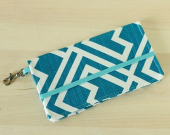 Blue Abstract Geometric Cell Phone Wallet - Turquoise Print - Smart Phone - Iphone Wallet