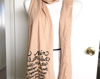 "Sale. Pride and Prejudice, Book Scarf, Mr. Darcy's Proposal ""In vain have I struggled..."" American Apparel Scarf. READY TO SHIP"