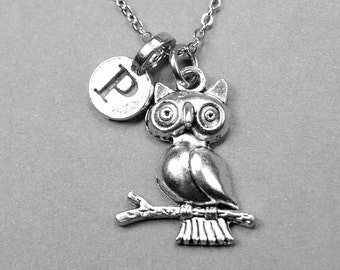 Owl on branch Necklace, owl charm, Bird necklace, silver plated pewter, initial necklace, initial charm, personalized, monogram letter
