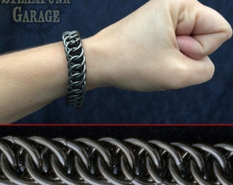 14g Bracelet - BLACK Steel  Half Persian 4 in 1 - Chainmaille