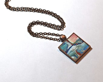 Art Pendant Necklace, FREE Shipping, One of a Kind, Acrylic Painting,  Wearable Art - Blue and Red Abstract Necklace - Handpainted Pendant