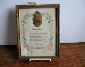 Vintage Marriage Blessing Framed Picture with Message on back