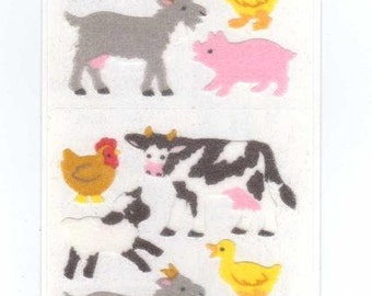 Farm Animals Sticker Strip by Sandylion MOC fuzzy NIP goat pig cow sheep duckling