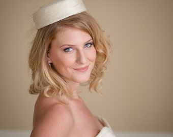 Pillbox Wedding Hat Silk Dupioni - Made to Order in Diamond White, Ivory , Champagne and more
