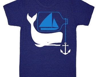 Ship & Whale - Mens Unisex Nautical T-Shirt Tee Shirt Anchor Sailing Boat Ship in a Bottle Moby Dick Rope Beach Sea Maritime Indigo Tshirt