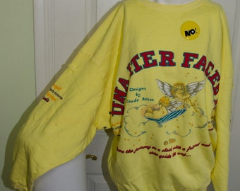 Vintage 1980s No Jeans by Claude Attias Oversized Sweatshirt with Tags