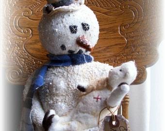 BEAR, Snowman, A Primitive, Folk Art, Everybody needs a friend, DOLL, E Pattern By Pea