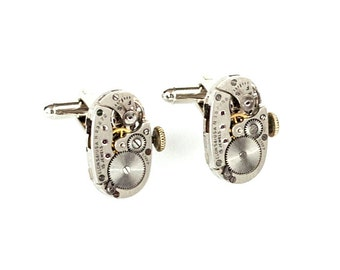 Luxe Perfectly Matched Steampunk Cufflinks with Vintage Silver Oval ELGIN Watch Movements with MOVING Winding Stems by Velvet Mechanism