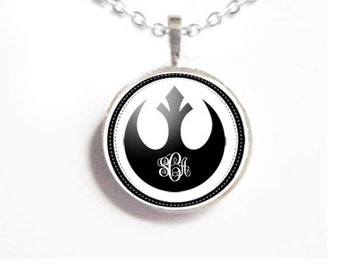 Black Rebel Alliance Necklace, Initial Monogram Necklace, Birthday Anniversary Personalized Gift Jewelry